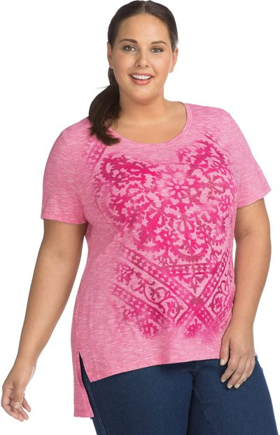 MY SIZE Women's Size Plus Short Sleeve Graphic Tunic
