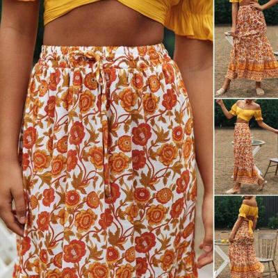 Women Boho Pleated Retro Elastic High Waist Evening Party Floral Printed Fashion Holiday Skirt Sundress