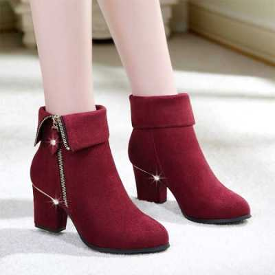 Plus Size Women Ankle Boots High Heels Black Boots Side Zip Ladies Winter Shoes Snow Boots Gold Heels Work Shoe botas mujer 7851