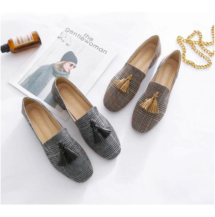 Plaid Fashion Flats shoes women Square Toe Fringes Casual loafers for girls Large size 4-10.5 Comfortable Flat shoes