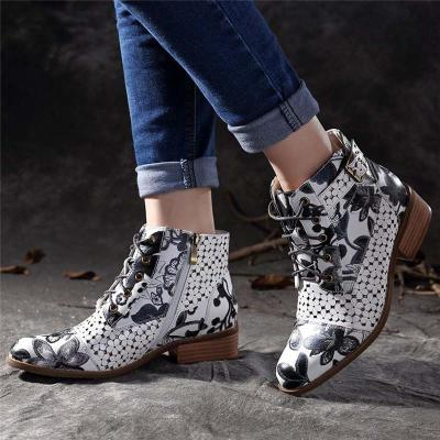 Ink Painting Flower Pattern Boots Women Cow Leather Splicing Lace-Up Stitching Shoes Botas Feminina Dames Laarzen Ankle BootA729