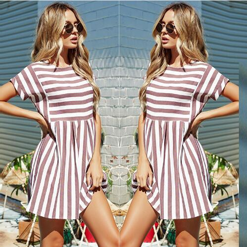 Women Summer Beach Dress A-Line Striped Short Sleeve O-Neck Print Dresses Casual Pink Mini Style Dress 2018 Sexy Sundress