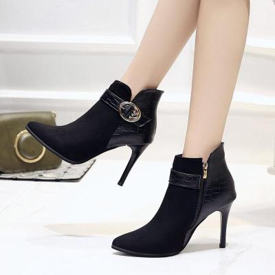 Women Boots 2020 Winter Shoes Woman Super High Heels Ankle Boots Thin Heels Pointed Toe Ladies Shoes Black botines mujer N7764