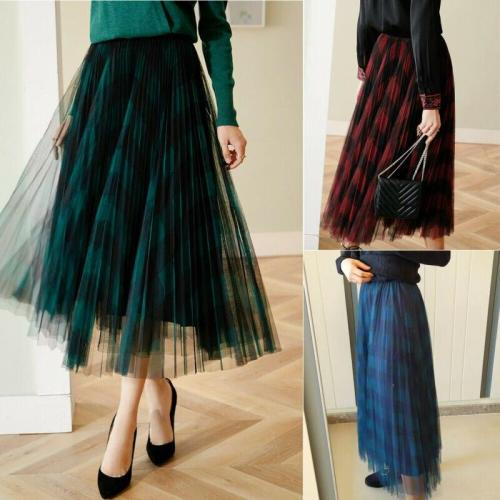 hirigin Summer Skirt Mesh Tutu Tulle Skirts Womens Elegant A Line High Waist Printed Office Ladies Pleated Long Skirt