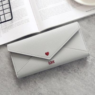 Fashion Long Women Wallets Simple Women Clutch Purse 2020 New Leather Luxury Money Bags Heart-shaped Letter Embroidery PU Solid