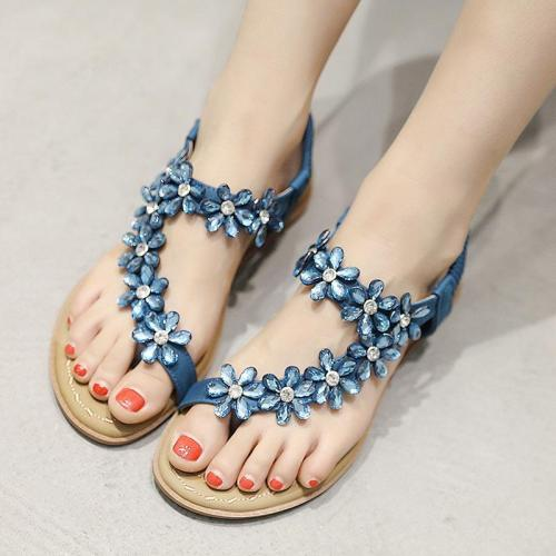 Women sandals 2020 new fashion flower rhinestone summer shoes woman soild color elastic band comfortable women shoes plus size
