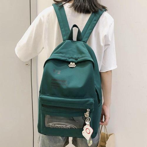 Transparent Nylon women backpack clear teenage girl school bag fashion Pendant cute backpack plastic print letter Student ladies