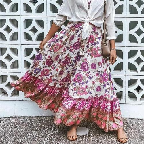 Bohemian floral print beach skirt women 2020 summer autumn lace up long skirt casual A-line flower skirts faldas mujer