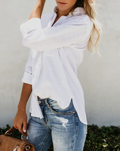 Womens Button Down V Neck Shirts Long Sleeve Blouse Roll Up Cuffed Sleeve Casual Work Plain Tops with Pockets