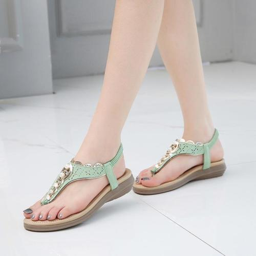 Summer shoes woman 2020 new fashion beaded women shoes clip toe sandals women solid color retro beach shoes plus size