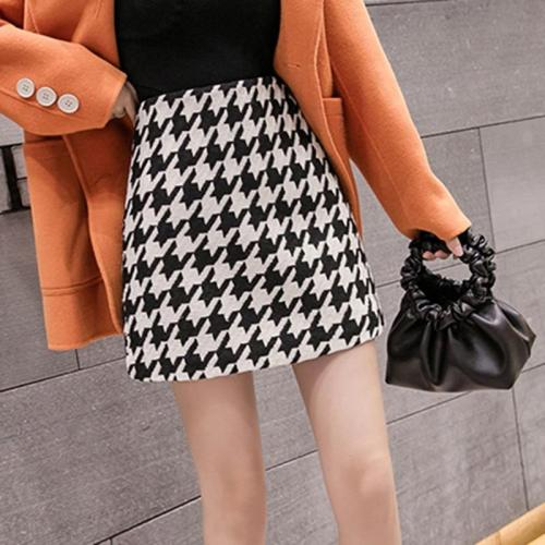 Houndstooth Wool Skirts Women Winter Vintage Autumn Mini Pencil Skirts Plaid Skirts Korean High Waist Elegant Skirt Lady V841