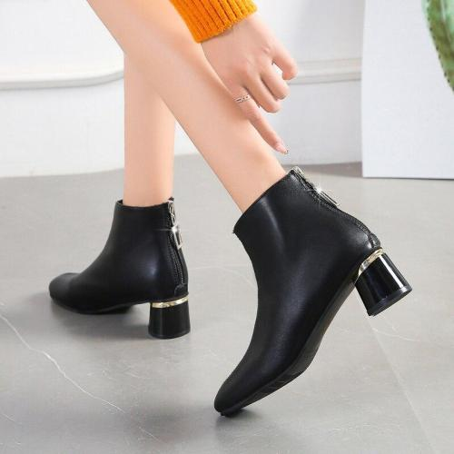 Plus Size 35-43 Women Ankle Boots Gold High Heels Back Zipper Botas Mujer Black Boots Rihinestone Winter Shoes N7877