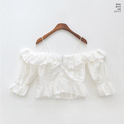 2020 Summer Fashion Streetwear 2 Kinds Wearing Sexy Slash neck Ruffles Lace-Up Lace Blouse Women Blusas Girls Shirt