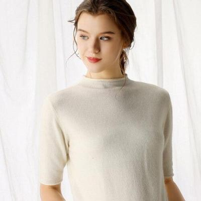 Women sweater half sleeves half turtleneck solid 35% real Cashmere  fashion female pollover female spring autumn clothes crimp
