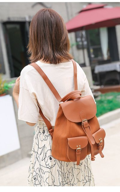 PU Leather Backpack Bags For Women Multiple Pockets Female Bagpack Candy Color School Backpack For Girls Ladies Backpack