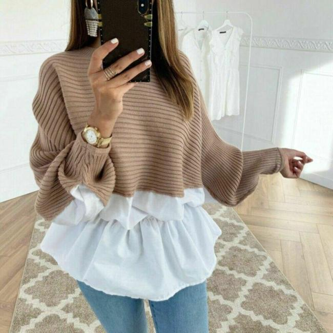 High Quality Fashion Patchwork Casual Women's Clothing Female Solid O-Neck Long Sleeved Knitted Sweater Women Soft Pullovers