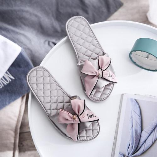 Women Bowtie Slippers Girls Cotton Flat Slides Ladies Soft Bottom Flip Flops Female Summer Casual Home Shoes Fashion