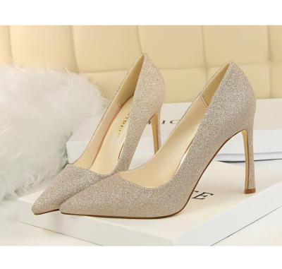 Office Style Pumps Fashion Women's Shoes With Super High Heel Pointed Toe Sexy Slimming Nightclub Glitter Shoes G0012