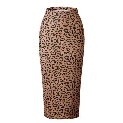 Foridol leopard print brown pencil skirt women autumn winter 2020 maxi long bodycon skirt high waist ladies skirt