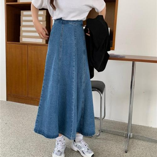 Denim Jeans Long Maxi Skirts Women High Waist Vintage Blue Denim Skirts Button Harajuku A-Line Thick Korean Skirts Loose W921