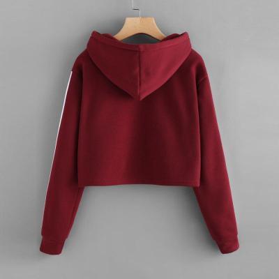 Womens Striped Long Sleeve Hoodie Sweatshirt Jumper Hooded Pullover Tops Blouse Oversize Hoodie Crop Top Mujer #F5