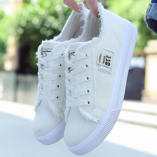 Casual shoes woman 2020 new arrival lace-up canvas shoes spring/autumn fashion shallow solid blue/black/white shoes
