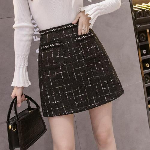 Plaid Tweed Skirts Women High Waist Korean Mini Skirt Vintage Short Pencil Skirts A-Line Pockets Zipper Wool Bright Silk W431