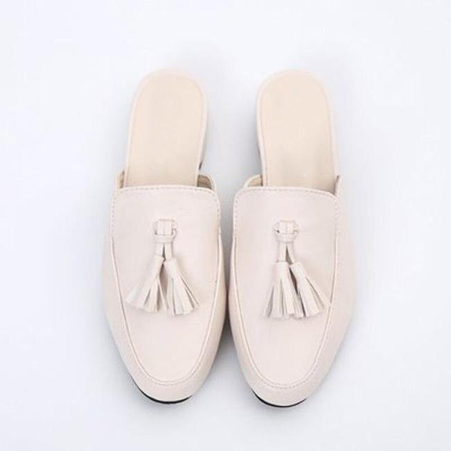 Elegant Women Mules Woman Tassel Slippers 2020 Casual Leather Women's Low Heels Outdoor Ladies Slip On Closed Toe Female Shoes