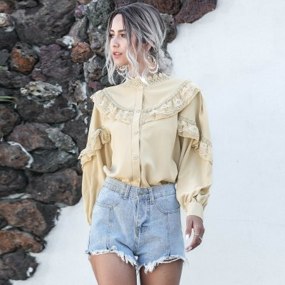 Elegant Lantern Long Sleeve Chiffon Shirt Women Spring Casual Lace Ladies Tops Vintage Button White Apricot Ruffle Blouse