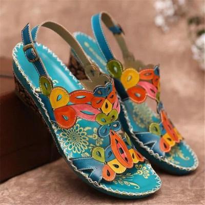 new women's sandals fashion ethnic style retro large size wedges handmade sandals slippers platform sandalias tacon women shoes