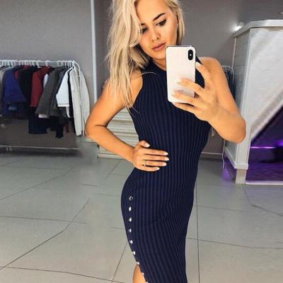 Women Bodycon Dress Sexy Knitted Sleeveless Summer Slim Fit  Dress For Ladies Button Knee Length Party Club Female Dresses D30