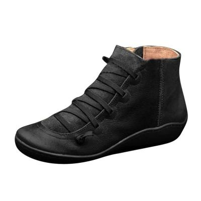 2020 Leather Ankle Boots For Women Winter Cross Strappy Vintage Women Punk Boots Fashion Flat Ladies Shoes Woman Botas Mujer
