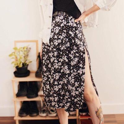 Fashion Skirt Women 2020 Cross-Border Women's Leopard Print Skirts Women High Waist Elastic Split midi A- line Skirt Streetwear