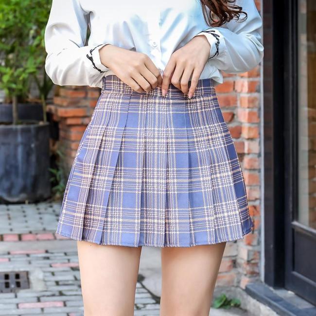 Plaid Summer Women Skirt 2020 High Waist Stitching Student Pleated Skirts Women Cute Sweet Girls Dance Mini Skirt XS-3XL