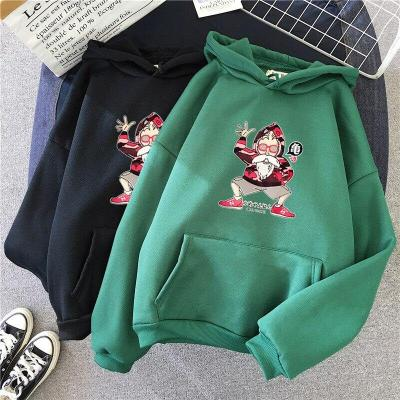 Hoodie lady cartoon print casual girl long sleeve spring and autumn winter loose plus velvet college style pullover women