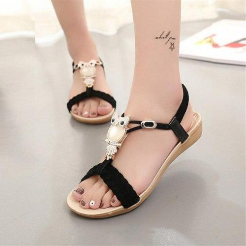 Women Sandals 2020 hot bohemia beaded owl wedge  sandals women flip flop summer style shoes woman shoes sandals