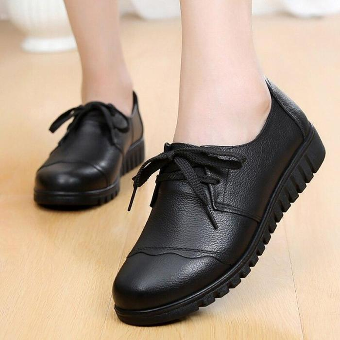 Designer shoes women luxury 2019 spring new style genuine leather casual shoes sewing lace-up black ladies shoes size 35-41