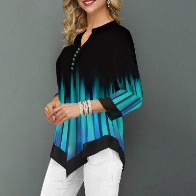 2020 Button Detail Split Neck Asymmetric Hem Shirt Women Fashion Casual V-Neck Office Lady Plus Size S-5XL 2020 Blouse Shirt