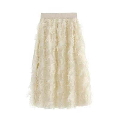 New Womens Ladies Elastic High Waist Mesh Patchwork Lovely Fashion Tulle Tutu Skirt Feather tassels Skirts