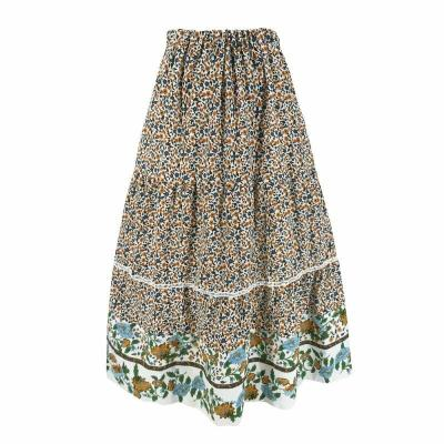 New Chiffon BOHO Ladies Floral Printed Loose Fashion Jersey Gypsy Long Maxi Full Skirt Sun Dress