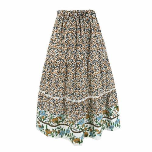 New Chiffon BOHO Ladies Floral Printed Loose Fashion Jersey Gypsy Long Maxi Full Skirt Sun Dress