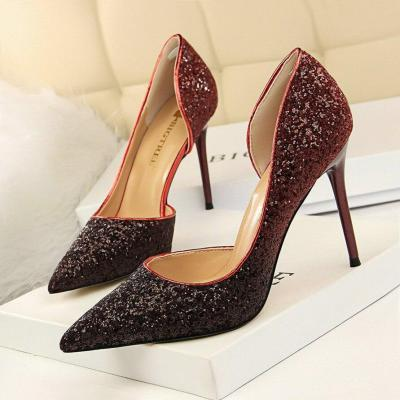 Women Pointed Toe Sexy Nightclub Thin Heels Gradient Color Sequin Side Hollow Single Shoes Wedding Pumps G0043