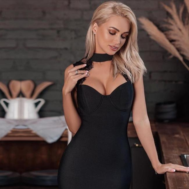 Adyce 2020 New Summer Women Black Lace Bandage Dress Sexy Hollow Out Midi Backless Celebrity Evening Runway Party Dress Vestidos