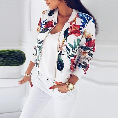 UZZDSS Women Jacket Fashion Ladies Retro Floral Zipper Up Bomber Jacket Casual Coat Autumn Spring Print Outwear Women Clothes