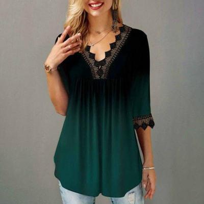 Plus Size 4xl 5x Pullovers T-shirt Boho Print Lace Splice Women's Tops  V-neck Loose 2020 Casual Summer New Female Tee Shirt