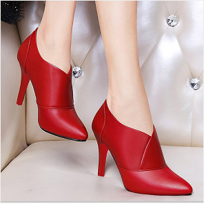 2020 Winter Women Bare boots High Heels Dress Shoes Pointed Toe Boots Black Red Botas Mujer Thin Heels Pumps Woman Shoes N7862