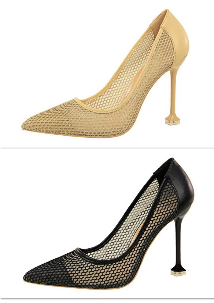 Fashion Summer Heels Women Mesh Breathable High Heels Pumps Thin Pumps Ladies Pointed Toe Shallow Pumps Shoes G0101