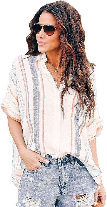 Womens Casual V Neck Striped Collared Roll-up Long Sleeve Button Down Blouses Shirts Top with Pockets