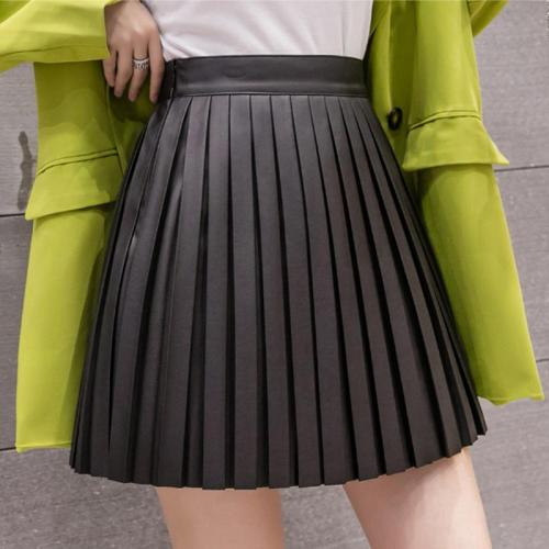 PU Leather Skirts Women Autumn Winter Mini Skirt High Waist Black Apricot Pleated Skirts Women Streetwear Zipper Vintage W286
