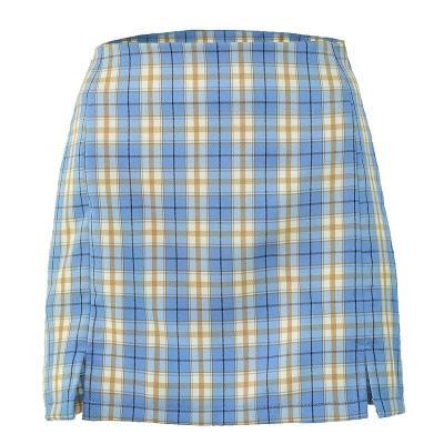 Vintage plaid slit skirts womens 2020 summer chic split high waist skirt high fashion blue checkboard mini skirts faldas